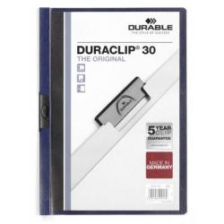 Skoroszyt zaciskowy o pojemności do 30 kartek Duraclip - granatowy