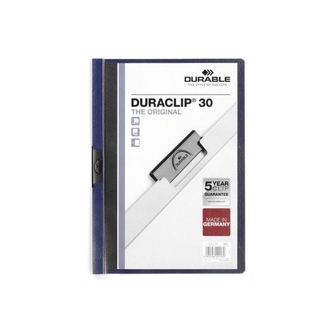 Skoroszyt zaciskowy do 30 kartek Duraclip - granatowy