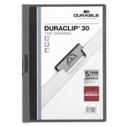 Skoroszyt zaciskowy o pojemności do 30 kartek Duraclip - szary