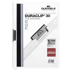 Skoroszyt zaciskowy o pojemności do 30 kartek Duraclip - biały