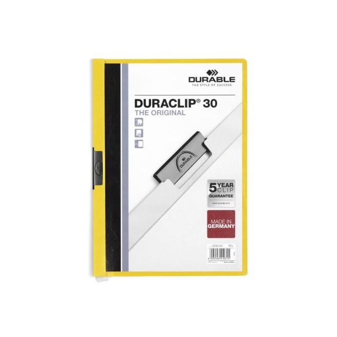 Skoroszyt zaciskowy do 30 kartek Duraclip - żółty