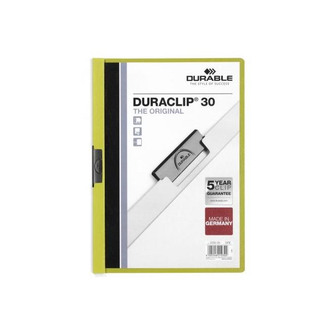 Skoroszyt zaciskowy do 30 kartek Duraclip - zielony