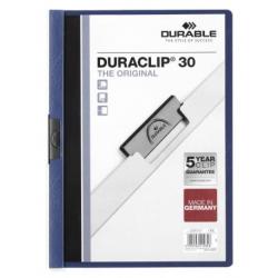 Skoroszyt zaciskowy o pojemności do 30 kartek Duraclip - niebieski