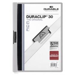 Skoroszyt zaciskowy o pojemności do 30 kartek Duraclip - jasnoszary