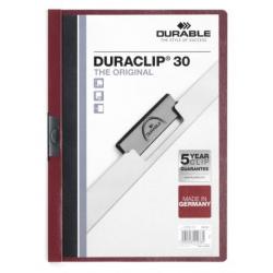 Skoroszyt zaciskowy o pojemności do 30 kartek Duraclip - bordowy
