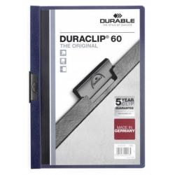 Skoroszyt zaciskowy o pojemności do 60 kartek Duraclip - granatowy