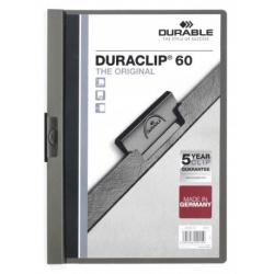 Skoroszyt zaciskowy do 60 kartek Duraclip - szary