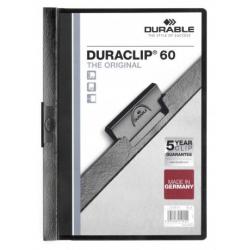 Skoroszyt zaciskowy o pojemności do 60 kartek Duraclip - czarny