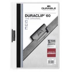 Skoroszyt zaciskowy o pojemności do 60 kartek Duraclip - biały