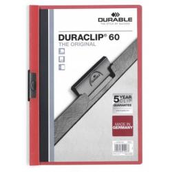 Skoroszyt zaciskowy o pojemności do 60 kartek Duraclip - czerwony