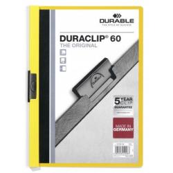 Skoroszyt zaciskowy do 60 kartek Duraclip - żółty