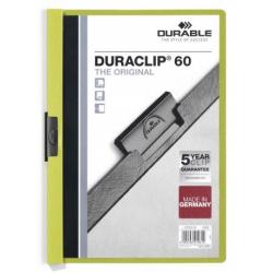 Skoroszyt zaciskowy do 60 kartek Duraclip - zielony