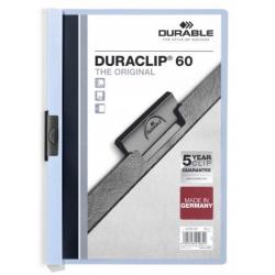 Skoroszyt zaciskowy o pojemności do 60 kartek Duraclip - jasnoniebieski
