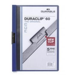 Skoroszyt zaciskowy o pojemności do 60 kartek Duraclip - niebieski