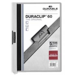 Skoroszyt zaciskowy o pojemności do 60 kartek Duraclip - jasnoszary