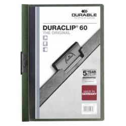 Skoroszyt zaciskowy o pojemności do 60 kartek Duraclip - ciemnozielony