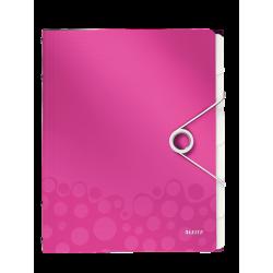 Teczka segregująca Leitz WOW 6 przekładek - różowa