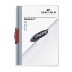 Skoroszyt zaciskowy Swingclip - transparentny z czerwonym zaciskiem