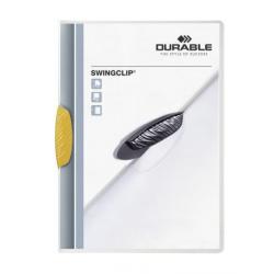 Skoroszyt zaciskowy Swingclip - transparentny z żółtym zaciskiem