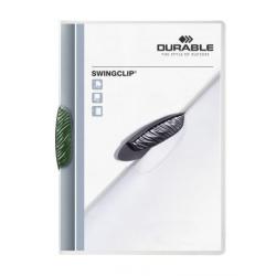 Skoroszyt zaciskowy Swingclip - transparentny z zielonym zaciskiem