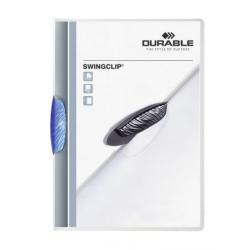 Skoroszyt zaciskowy Swingclip - transparentny z niebieskim zaciskiem