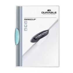 Skoroszyt zaciskowy Swingclip - transparentny z jasnoniebieskim zaciskiem