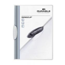 Skoroszyt zaciskowy Swingclip - transparentny z białym zaciskiem