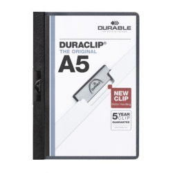Skoroszyt zaciskowy formatu A5 Duraclip - czarny