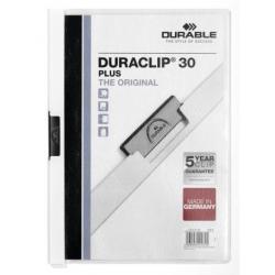 Skoroszyt zaciskowy o pojemności do 30 kartek Duraclip Plus - biały