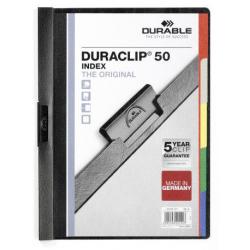 Skoroszyt zaciskowy o pojemności do 50 kartek Duraclip Index - czarny