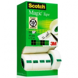 Taśma 3M Scotch Magic 19mm x 33m, zestaw 12+2 rolki gratis