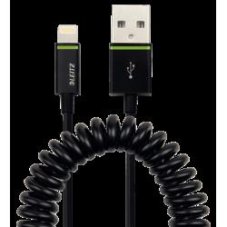 Kabel spiralny Leitz Complete ze złączem Lightning na USB, 1m - czarny