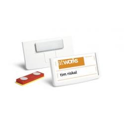 Identyfikator z magnesem - 30x60 / 25 szt / biały