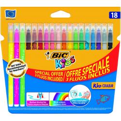 Pisaki Bic Kids - Kid Couleur Fluo - 18 kolorów