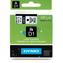 Taśma Dymo D1 6mm x 7m - biała/czarny nadruk