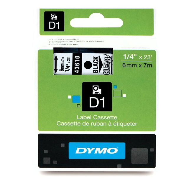 Taśma Dymo D1 6mm x 7m - przezroczysta/czarny nadruk