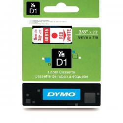 Taśma Dymo D1 9mm x 7m - biała/czerwony nadruk