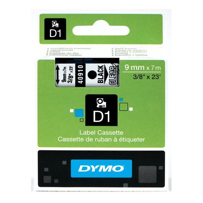 Taśma Dymo D1 9mm x 7m - przezroczysta/czarny nadruk
