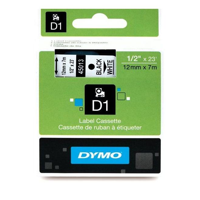 Taśma Dymo D1 12mm x 7m - biała/czarny nadruk