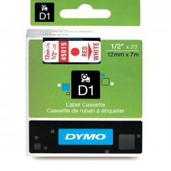 Taśma Dymo D1 12mm x 7m - biała/czerwony nadruk