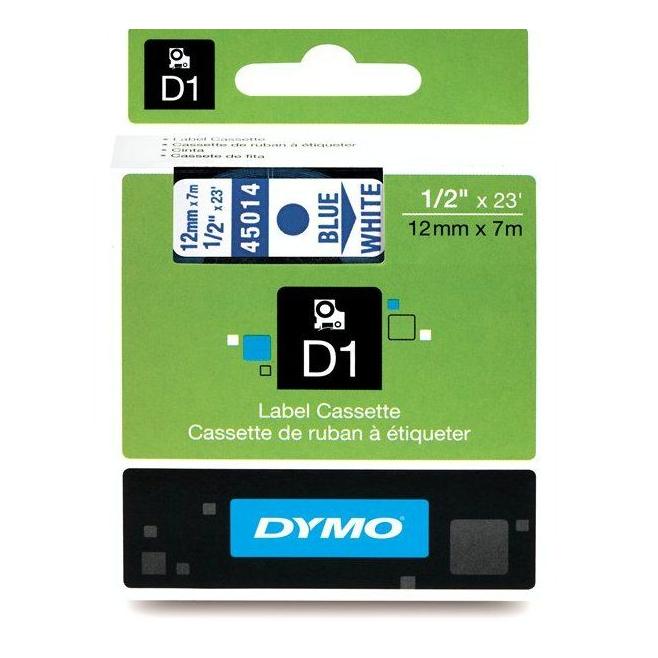 Taśma Dymo D1 12mm x 7m - biała/niebieski nadruk