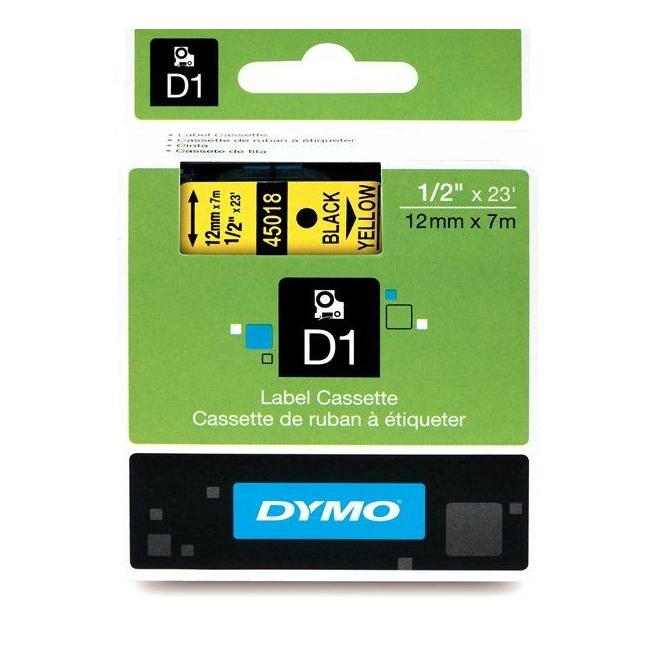Taśma Dymo D1 12mm x 7m - żółta/czarny nadruk