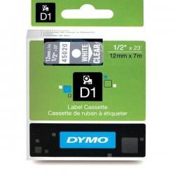 Taśma Dymo D1 12mm x 7m - przezroczysta/biały nadruk