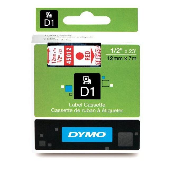 Taśma Dymo D1 12mm x 7m - przezroczysta/czerwony nadruk