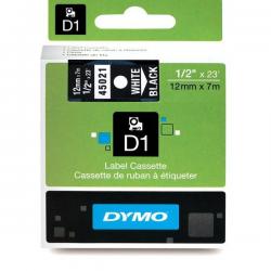 Taśma Dymo D1 12mm x 7m - czarna/biały nadruk
