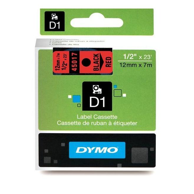 Taśma Dymo D1 12mm x 7m - czerwona/czarny nadruk
