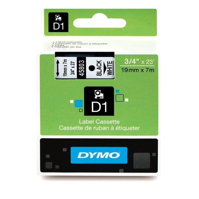 Taśma Dymo D1 19mm x 7m - biała/czarny nadruk