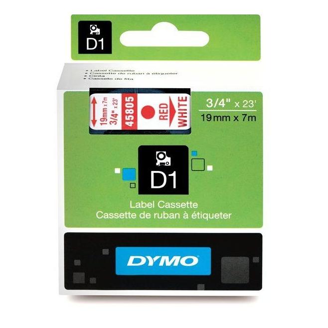 Taśma Dymo D1 19mm x 7m - biała/czerwony nadruk
