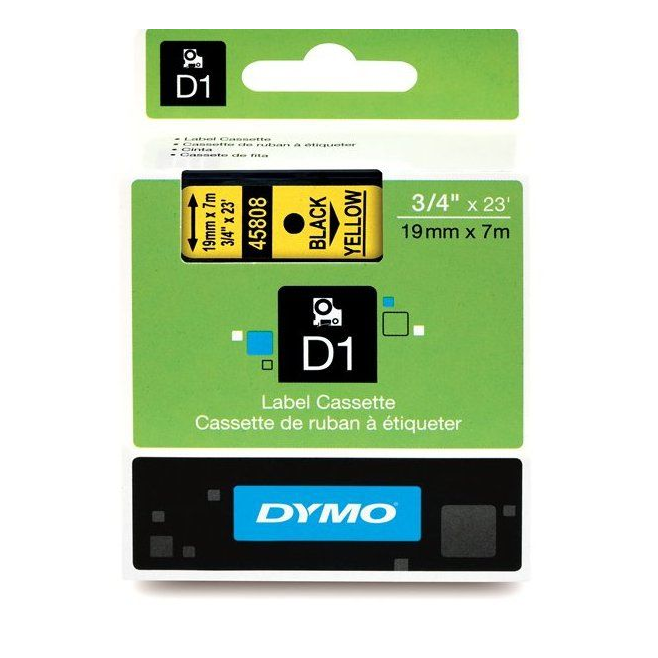 Taśma Dymo D1 19mm x 7m - żółta/czarny nadruk