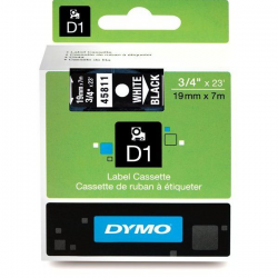 Taśma Dymo D1 19mm x 7m - czarna/biały nadruk